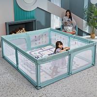 儿童游戏围栏婴儿室内爬行垫家用防护宝宝安全学步栅栏玩具游乐园 绿色