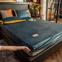 移动专享:沿蔻家纺 牛奶绒刺绣保暖单床笠 150*200cm