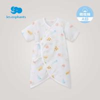 丽婴房婴儿衣服男女宝宝纯棉短袖蝴蝶装新生儿连体衣2020夏季新款(70cm 、白底印图)