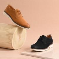 网易微瑕:男式缩纹牛皮磨砂德比鞋