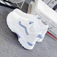 小白鞋女运动鞋女厚底增高女鞋 蓝色冬季加棉款 37