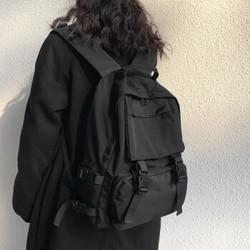 书包男潮流韩版高中大学生背包女士大容量纯色双肩包简约旅行电脑包 黑色