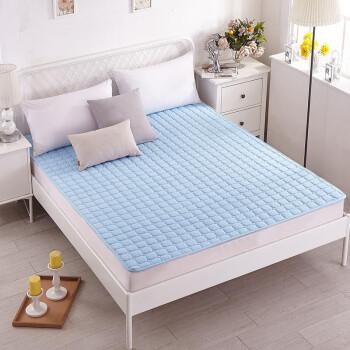 床垫家纺 软垫舒适透气床垫四季保护垫 休闲床垫子 床褥子 蓝色 90*200cm