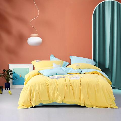 全棉水洗棉ins风四件套AB双面设计被套床单纯棉床上用品套件