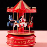 KIDNOAM 圣誕紅色系列 旋轉木馬八音盒