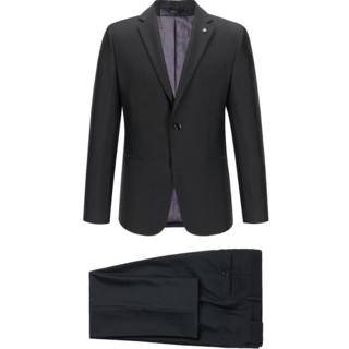 HLA/海澜之家经典平驳领商务西服套装简约净色质感套西男