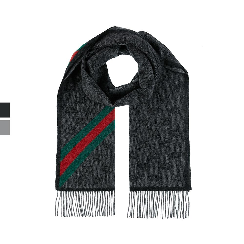 GUCCI 古驰 经典款GG图案撞色条纹围巾