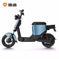 雅迪(yadea)电动车欧逸电动自行车可提锂电池成人电瓶车男女代步车踏板车 蓝色