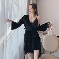 PEANOJEAN 6775 性感丝绒睡袍睡裙