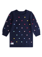 婴儿|彩色绒线球撞色领长袖连针织连衣裙