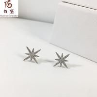 佰黛 s925纯银镶晶钻流星耳钉女群镶时尚耳环复古耳饰气质米字星星