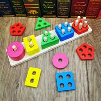 儿童几何五柱形状配对套柱积木拼图 1-2-3岁宝宝早教益智力玩具