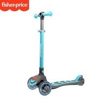 费雪宝宝滑板车儿童3-6-8岁以上四轮折叠滑板车溜溜车单脚滑滑车 蓝色