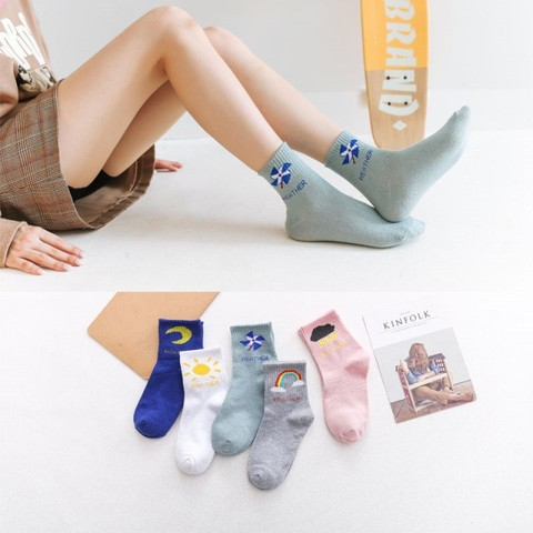 尔晴 女款糖果色中筒堆堆袜 10双装