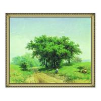 瓦西里耶夫·费奥多《通往林中的乡间路》 风景油画挂画 110×91cm