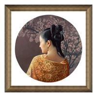 新中式人物油画《梅》姜国芳 沙发背景墙装饰画挂画 典雅栗 66*66cm