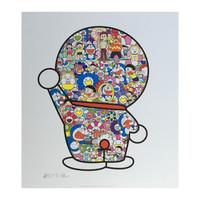 村上隆正版版画 多啦A梦背影 太阳花 艺术收藏 65*58cm