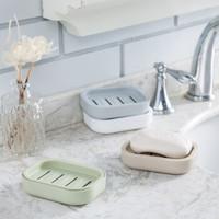 榕力 日式简约双层沥水肥皂盒 4个装