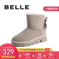 百丽厚底雪地靴女2020冬新款蝴蝶结休闲保暖鞋20802DD0 灰色 36