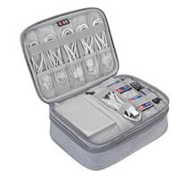 BUBM 数据线数码收纳包装笔记本充电器鼠标移动电源硬盘保护套大容量便携 DPSS-MYB 双层灰色 *4件