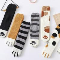 移动专享:珊瑚绒猫爪袜子女中筒袜 3双