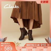 clarks其乐女鞋秋冬复古英伦风粗跟时尚百搭中高跟鞋短靴踝靴女