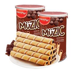 munchy's 马奇新新 巧克力注芯蛋卷威化饼干 85g*2罐