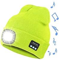Bosttor 蓝牙无檐小便帽带灯, 带耳机,   LED 帽,男女 圣诞礼物,荧光色