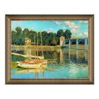 莫奈油画《阿尔让特依之桥》装饰画挂画 典雅栗 81x63cm