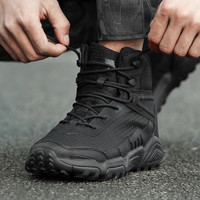 狼石户外正品新式作战靴男超轻黑色中帮战术军靴冬季作训军鞋耐磨 *2件