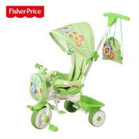 费雪多功能三合一儿童脚踏三轮车手推车自行车可拆装玩具童车 绿色