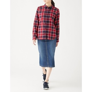 MUJI  无印良品  W9AC506 女士格子衬衫
