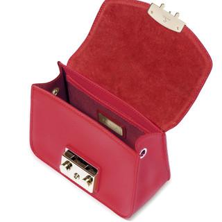 FURLA 芙拉 METROPOLIS系列女士牛皮革方形翻盖锁扣链条单肩斜挎包851170 红色小号
