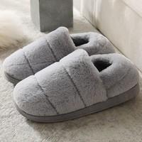 柯嘉怡 男女防滑包跟棉拖鞋 兔毛款 多色可选