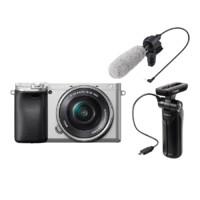 SONY 索尼 Alpha系列 Alpha 6400 APS-C微单数码相机+Vlog视频套装(GP-VPT1便携手柄+ECM-CG60麦克风) 银色