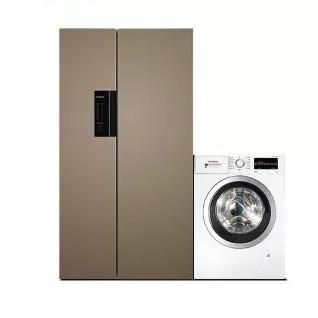 BOSCH 博世 冰洗套装 KAN92ENQTI 变频对开门冰箱 608L 流沙金+WAP282602W 滚筒洗衣机 10kg 白色