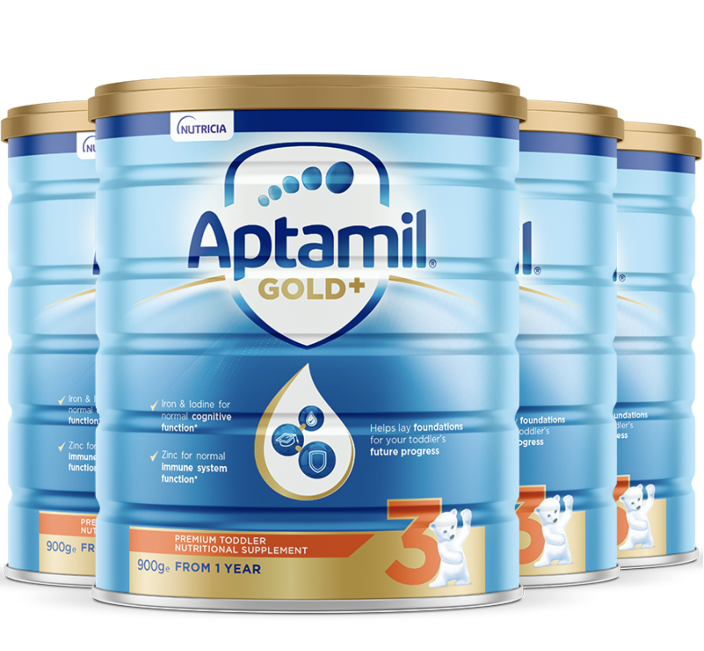 Aptamil 爱他美 金装 幼儿配方奶粉 3段 900g*4罐(1-2岁)澳版