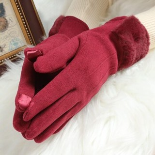 上海故事 W59461 兔绒加绒女士手套 酒红(竖条加绒)