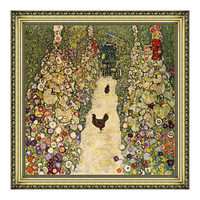 克里姆特油画《有母鸡的园中小径》背景墙装饰画挂画 60×60cm