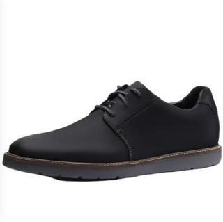 Clarks 其乐 Grandin Plain系列男士牛皮圆头平跟系带低帮休闲皮鞋261383717 黑色41