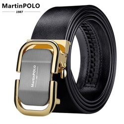 迈尔顿保罗MartinPOLO 质感升级轻奢牛皮透气柔韧弹性耐用男士皮带 MP00301P复古皮 金色  110cm