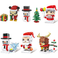 星比卡 圣诞节积木 圣诞老人+圣诞麋鹿+圣诞雪人+圣诞奶奶
