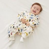 威尔贝鲁(WELLBER)婴儿睡袋儿童防踢被宝宝秋冬睡袋厚棉梭织布可脱半袖分腿睡袋熊猫森林75cm