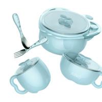 爱音 Aing 儿童不锈钢注水保温碗餐具套装吸盘碗宝宝辅食碗训练碗 蓝色5件套 *2件