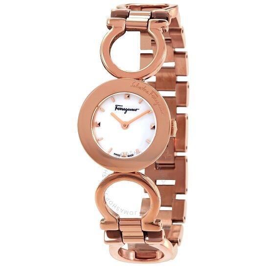 超值黑五、银联爆品日 : SALVATORE FERRAGAMO  Gancino Quartz系列 SFUK00320 白色表盘女士手表