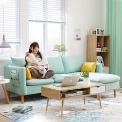 佳佰 小户型布艺沙发 三人位+脚踏 1.8m