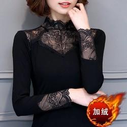 秋冬保暖蕾丝加绒打底衫大码女装长袖高领弹力T恤