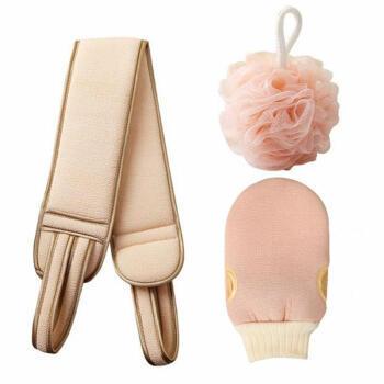凯仕帝(KASTIZA)洗澡巾磨砂双面加厚套装 搓澡巾+拉背条+浴花*浅粉色
