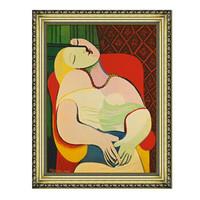 毕加索油画《梦幻》沙发背景墙装饰画挂画 宫廷金 99*77cm