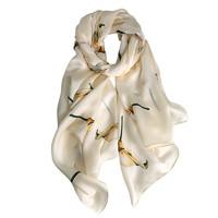 哲偲 女士真丝丝巾 ZS2020061405 米黄色马蹄莲 180*65cm